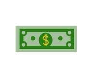 Значок наличных денег счета денег на векторе дизайна белой предпосылки плоском Стоковые Изображения RF
