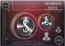 Значок на красно-черной предпосылке, дело доллара и евро, статистик Стоковые Фотографии RF