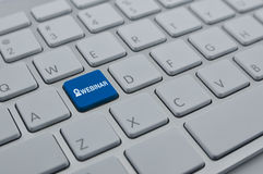 Значок на современной кнопке клавиатуры компьютера, семинар Webinar онлайн Стоковое фото RF