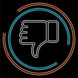 Значок нелюбов - большой палец руки вниз с кнопки, плохого символа иллюстрация вектора