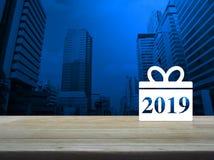 Значок 2019 Нового Года подарочной коробки счастливый Стоковые Изображения