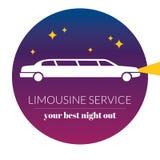Значок ночного обслуживания лимузина графический подписывает внутри кругом Стоковое фото RF