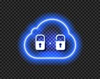 Значок облака данным по вектора, неоновый открытый знак накаляя на темной прозрачной предпосылке иллюстрация вектора