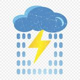 Значок облака Grunge голубой с молнией и дождем Иллюстрация шаржа голубого облака с молнией и дождь vector значок для сети бесплатная иллюстрация