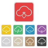 Значок облака установленный на плоской предпосылке Стоковые Изображения RF