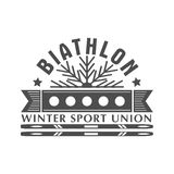 Значок логотипа биатлона также вектор иллюстрации притяжки corel Эмблема спорта зимы изолированная для дизайна Стоковые Изображения RF