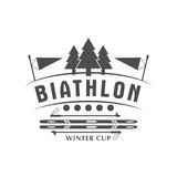 Значок логотипа биатлона также вектор иллюстрации притяжки corel Эмблема спорта зимы изолированная для дизайна Стоковое фото RF
