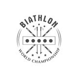 Значок логотипа биатлона также вектор иллюстрации притяжки corel Эмблема спорта зимы изолированная Стоковое Изображение RF