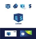 Значок логотипа куба письма s голубой Стоковое Фото