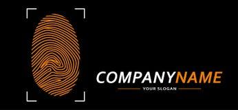 Значок логотипа отпечатка пальцев также вектор иллюстрации притяжки corel Стоковое Фото