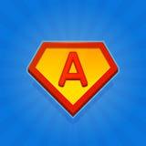 Значок логотипа супергероя с письмом a на голубой предпосылке вектор Стоковые Изображения
