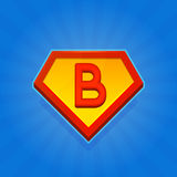 Значок логотипа супергероя с письмом b на голубой предпосылке вектор Стоковая Фотография
