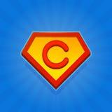 Значок логотипа супергероя с письмом c на голубой предпосылке вектор Стоковое Изображение