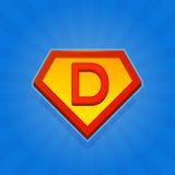Значок логотипа супергероя с письмом d на голубой предпосылке вектор Стоковые Фото