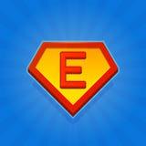 Значок логотипа супергероя с письмом e на голубой предпосылке вектор Стоковая Фотография RF