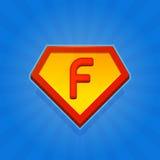 Значок логотипа супергероя с письмом f на голубой предпосылке вектор Стоковая Фотография RF