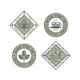 Значок логотипа установил для органической продукции зеленого чая Стоковая Фотография