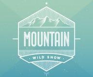 Значок логотипа для творческого дизайн-проекта Ярлык связанный к теме горы также вектор иллюстрации притяжки corel Стоковая Фотография RF