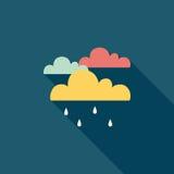 Значок дождя плоский с длинной тенью Стоковые Изображения