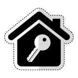 значок дома изолированный страхованием Стоковое Изображение