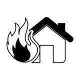 значок дома изолированный страхованием Стоковые Изображения