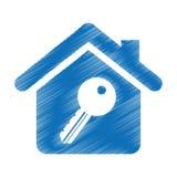 значок дома изолированный страхованием Стоковые Изображения RF
