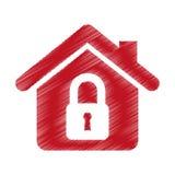 значок дома изолированный страхованием Стоковые Фотографии RF