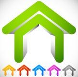 значок дома 3D в 6 цветах Дом, пригородный дом, жилой b бесплатная иллюстрация