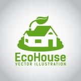 Значок дома eco вектора зеленый Стоковое Изображение RF