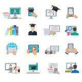 Значок онлайн образования плоский Стоковое фото RF