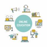 Значок онлайн образования установленный Стоковое Изображение