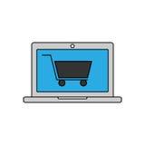 Значок онлайн покупок линейный также вектор иллюстрации притяжки corel Стоковая Фотография