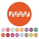 Значок опасности Предосторежение и опасность, символ внимания плоско иллюстрация вектора
