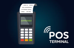 Значок оплаты POS терминальный плоский Стоковая Фотография