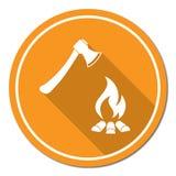 Значок оси и лагерного костера Стоковое Изображение