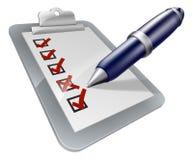 Значок доски сзажимом для бумаги и ручки Стоковое Изображение