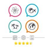 Значок отключения перемещения Самолет, символы глобуса мира Стоковые Фото