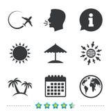 Значок отключения перемещения Самолет, символы глобуса мира Стоковые Фотографии RF