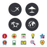 Значок отключения перемещения Самолет, символы глобуса мира Стоковые Изображения