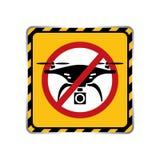 Значок отсутствие предупредительного знака зоны трутня в черноте рам иллюстрация штока