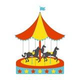Значок лошадей Carousel плоский Винтажная иллюстрация вектора Стоковое Изображение RF