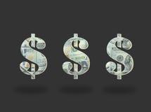 Значок доллара денег на черноте стоковая фотография rf