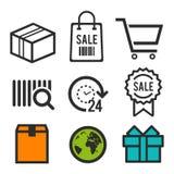 Значок пакета Магазинная тележкаа хозяйственной сумки, и символы продажи 24 значка часа открытых Знаки дня рождения Значки глобус Стоковые Изображения RF