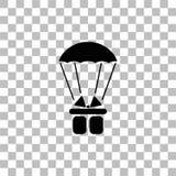 Значок пакета подарочной коробки парашюта плоско иллюстрация штока