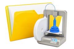 Значок папки компьютера с 3D принтером, перевод 3D иллюстрация вектора