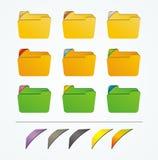 Значок папки с красочными лентами Стоковые Изображения RF