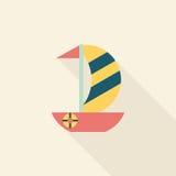 Значок парусника плоский с длинной тенью Стоковая Фотография