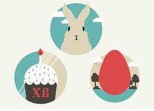 Значок пасхи концепции плоский установил с кроликом, тортом и яичком бесплатная иллюстрация
