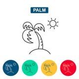 Значок пальмы и солнца Стоковые Фото