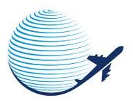 Значок перемещения глобуса и самолета Стоковая Фотография